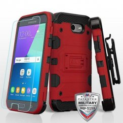 Samsung Galaxy J3 Red/Black 3-in-1 Storm Tank Hybrid Case Combo with Black Holster and Tempered Glass Screen Protector