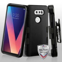 LG V30 Rubberized Black/Black Hybrid Case Military Grade with Black Horizontal Holster