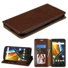 Motorola Moto G4 / Moto G4 Plus Brown Wallet(with Tray)