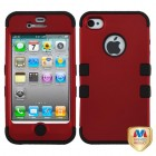 Apple iPhone 4/4s Titanium Red/Black Hybrid Phone Protector Cover