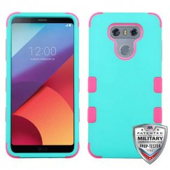 LG G6 Rubberized Teal Green/Electric Pink Hybrid Case Military Grade