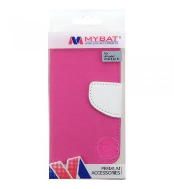 Alcatel Pixi 4 (3.5) Hot Pink Pattern/White Liner wallet (with card slot)