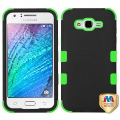 Samsung Galaxy J7 Rubberized Black/Electric Green Hybrid Case