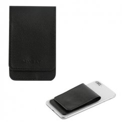Black Genuine Leather Flip Adhesive Card Pouch with Snap Fastener