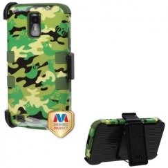 Samsung Galaxy S2 Green Woodland Camo/Army Green Hybrid Case with Black Holster
