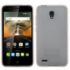 Alcatel One Touch Conquest Semi Transparent White Candy Skin Cover - Rubberized