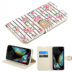 LG K10 Pink Fresh Roses Diamante Wallet with Diamante Belt