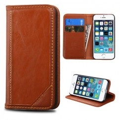 Apple iPhone 5/5s Brown Genuine Leather Wallet
