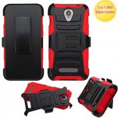 ZTE Obsidian Black/Red Advanced Armor Stand Case with Black Holster