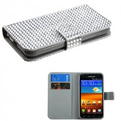 Samsung Epic 4G Touch (Galaxy S2) ilver Diamonds Book-Style Wallet with Card Slot