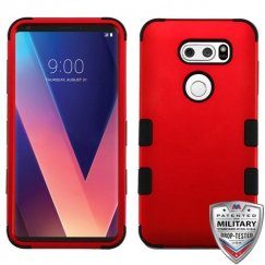 LG V30 Titanium Red/Black Hybrid Case Military Grade