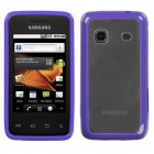 Samsung Galaxy Prevail Transparent Clear/Solid Purple Gummy Cover