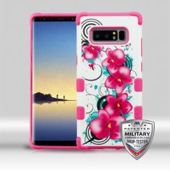 Samsung Galaxy Note 8 Morning Petunias/Hot Pink Merge Hybrid Case Military Grade
