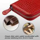 Universal Red Crocodile-Embossed Genuine Leather Wallet