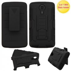 ZTE Uhura N817 Black/Black Advanced Armor Stand Case with Black Holster