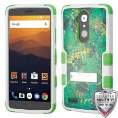 ZTE Blade Max 3 / Max XL Oil-Painting Tender Leaves/Electric Green Hybrid Case with Stand