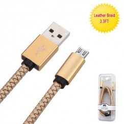 Gold Micro USB USB Braided Leather Data Cable with Aluminum Alloy Connector Encapsulation 3. 3 Feet