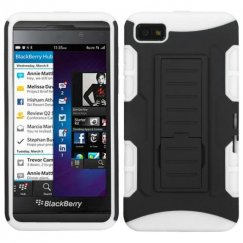 Blackberry Z10 Black/White Car Armor Stand Case - Rubberized