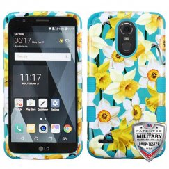 LG G Stylo 3 Spring Daffodils/Tropical Teal Hybrid Case Military Grade