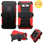 Samsung Galaxy J7 Black/Red Advanced Armor Stand Case with Black Holster