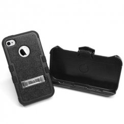 Apple iPhone 4/4s Natural Black/Black Hybrid Case with Stand and Black Holster