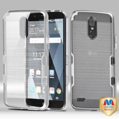 LG G Stylo 3 Metallic Silver/Transparent Clear Brushed Panoview Hybrid Case