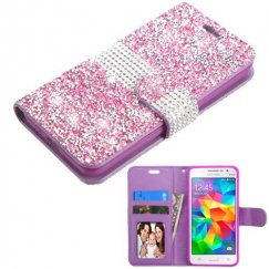 Samsung Galaxy Grand Prime Purple Mini Crystals with Silver Belt Wallet