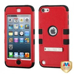 Apple iPod Touch (5th Generation) Natural Red/Black Hybrid Case with Stand