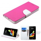 LG G Stylus 2 Hot Pink Pattern/White Liner wallet (with card slot)