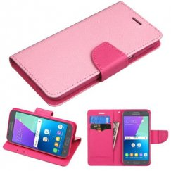 Samsung Galaxy J3 Pink Pattern/Hot Pink Liner Wallet with Card Slot