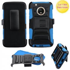 Motorola Moto G5 Plus Black/ Blue Advanced Armor Stand Case Combo with Black Holster