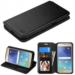 Samsung Galaxy J2 Black Wallet with Tray
