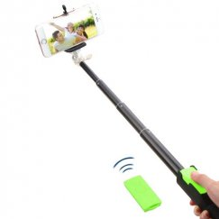 Green Selfie Stick (with Black Mobile Monopod)(for iOS & Android)