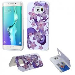 Samsung Galaxy S6 Edge Plus Purple Hibiscus Flower Romance /White Advanced Armor Stand Case with Card Wallet