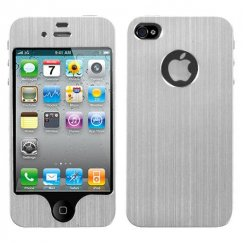 Apple iPhone 4/4s Silver Brushed METAL Decal Shield Case