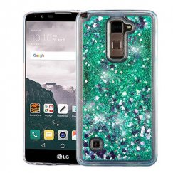 LG LG G Stylo 2 Plus Hearts & Green Quicksand Glitter Hybrid Case