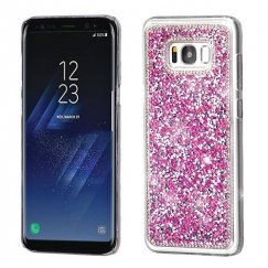 Samsung Galaxy S8 Plus Hot Pink Mini Crystals Rhinestones Desire Back Case