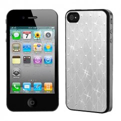 Apple iPhone 4/4s Silver Studded Back Plate Cover with Black Sides