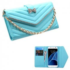 Samsung Galaxy S7 Baby Blue Premium Quilted Wallet with Bracelet