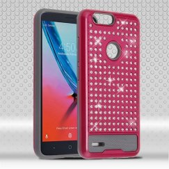 ZTE Blade Z Max / Sequoia Z982 Hot Pink/Iron Gray Diamante FullStar Case