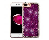 Apple iPhone 7 Plus Purple Quicksand (Stars) Glitter Hybrid Protector Cover (with Diamonds)