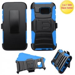 Samsung Galaxy S7 Black/ Blue Advanced Armor Stand Case with Black Holster