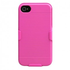 Apple iPhone 4/4s Rubberized Hot Pink Hybrid Holster