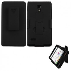 LG Optimus L9 Rubberized Black Hybrid Holster with Stand