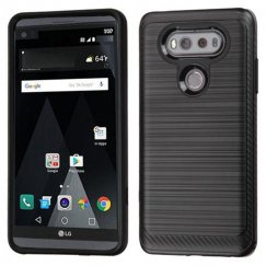 LG V20 Black/Black Brushed Hybrid Case with Carbon Fiber Accent