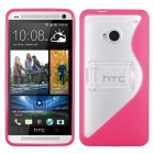 HTC One M7 Transparent Clear/Solid Hot Pink (S Shape With Stand) Gummy Cover