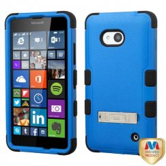 Nokia Lumia 640 Natural Dark Blue/Black Hybrid Case with Stand