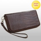Universal Brown Crocodile-Embossed Genuine Leather Wallet