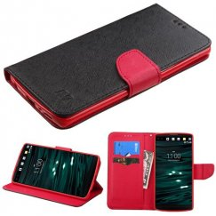 LG V10 Black Pattern/Red Liner Wallet with Card Slot