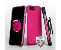 Apple iPhone 7 Plus Titanium Solid Hot Pink/Transparent Clear Contempo Hybrid Case with Black Horizontal Holster